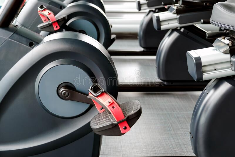 Fitness room background stock photos