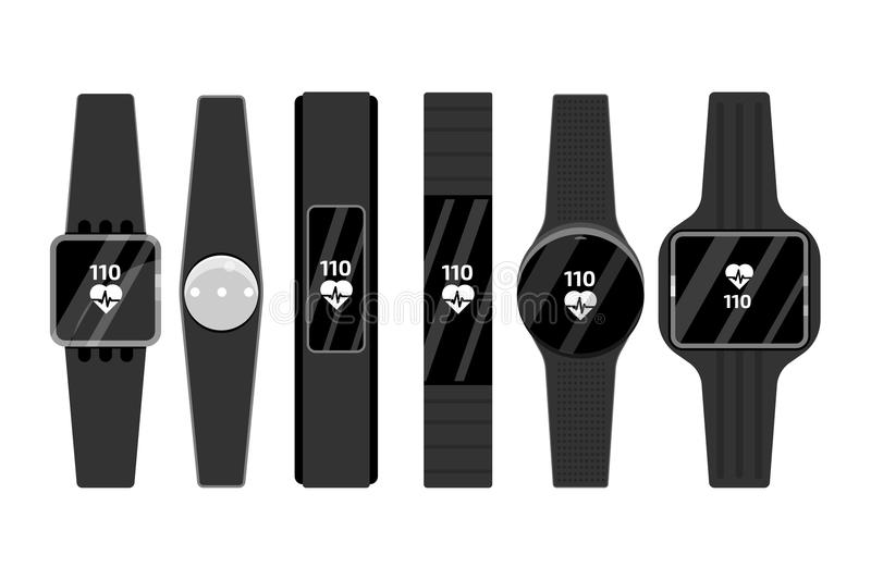 Fitness run tracker band set. Sport bracelet or wristband. vector illustration