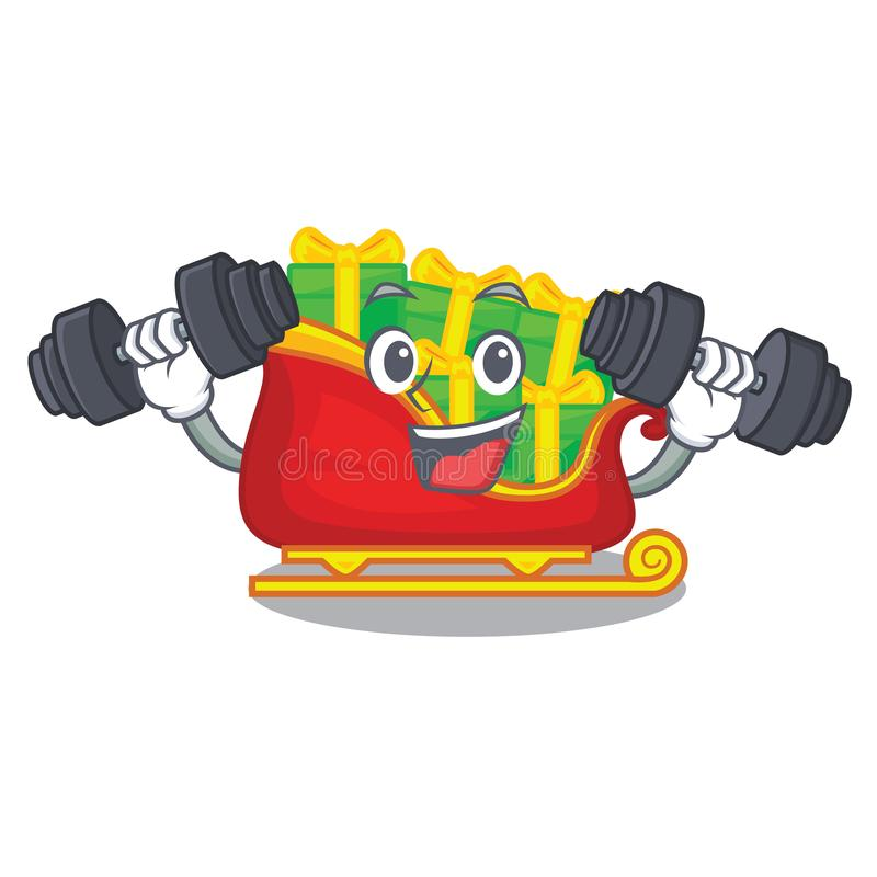 Fitness santa sleigh with piles presents cartoon vector illustration