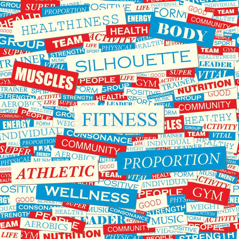 Download FITNESS stock vector. Image of decoration, collage, endless - 34692044