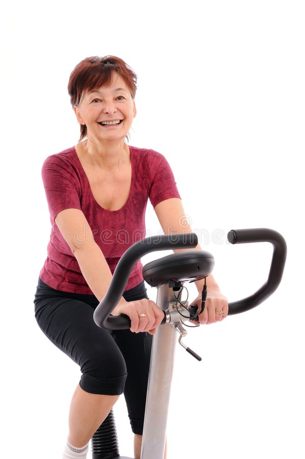 Fitness senior woman excercises royalty free stock photos