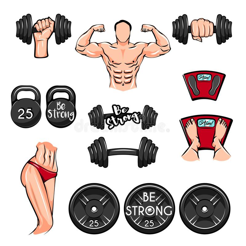 Fitness set. Sport. Gym theme illustrations created with dumbbells, disc weights sport. Vector. stock illustration