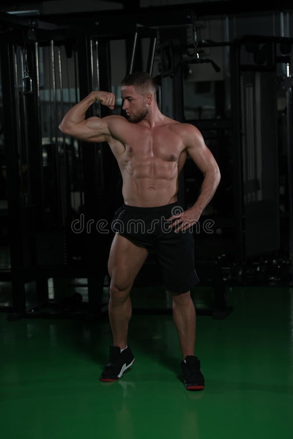 Fitness Shaped Muscle Man Posing In Dark Gym stock images