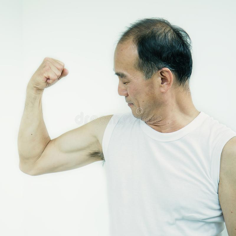 Senior muscular asian male body stock photo