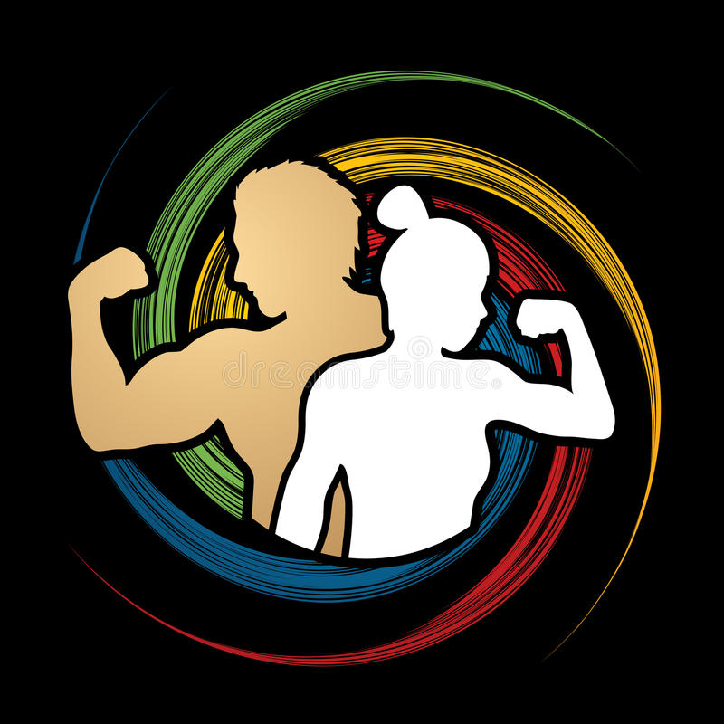 Free Fitness Silhouette Man And Woman Pose Stock Images - 86267424