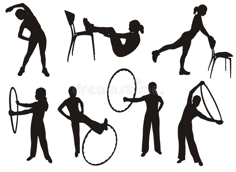 Fitness silhouettes royalty free illustration