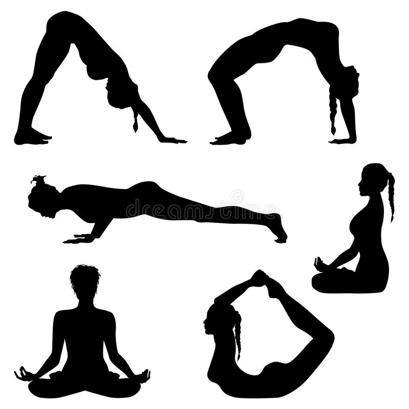 Fitness silhouettes - vector set royalty free illustration