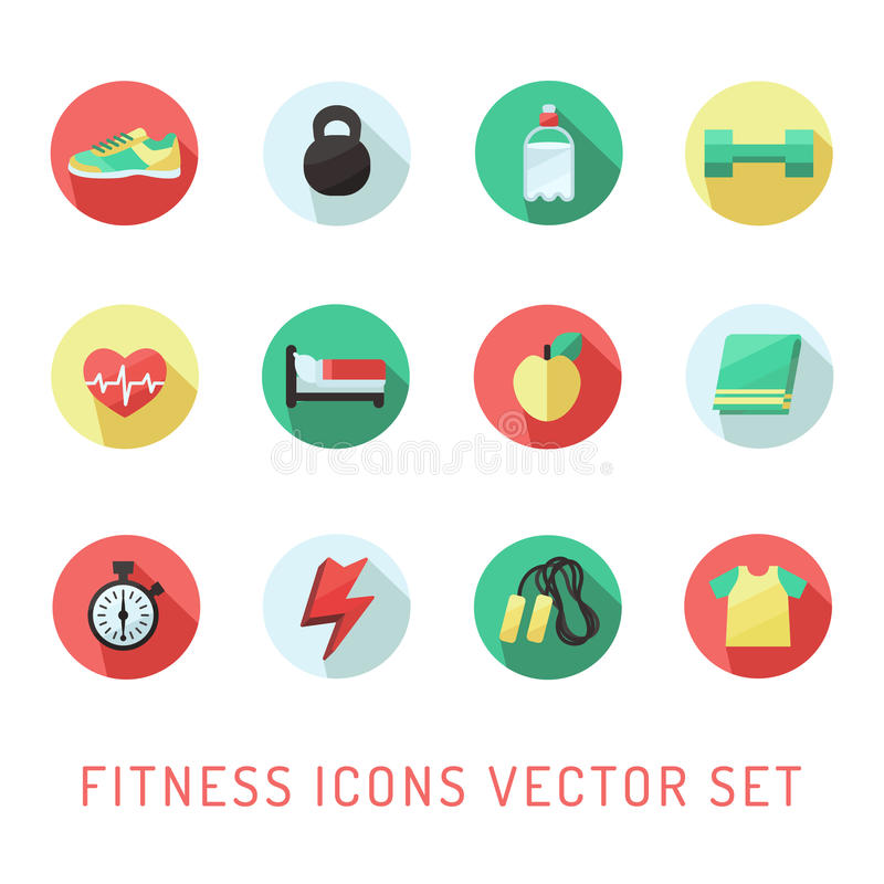 Fitness and sport circle icon multicolored vector set. Flat style design. stock illustration