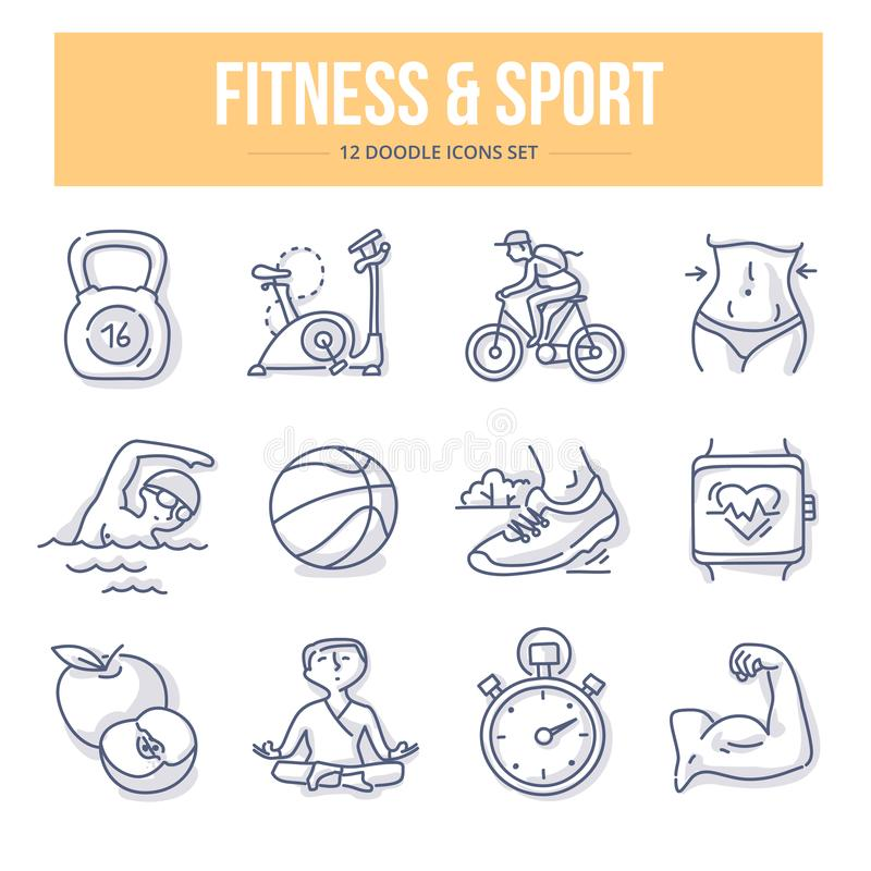 Fitness & Sport Doodle Icons stock illustration