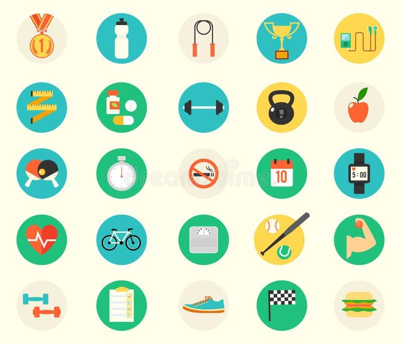 Fitness sport en gezondheids kleurrijk vlak ontwerp royalty-vrije illustratie