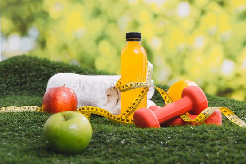 Fitness and sport equipment and health food concept. royalty free stock photos