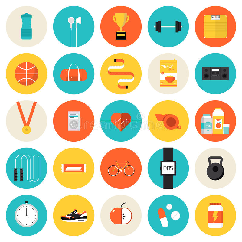 Fitness and sport flat icons set. Flat icons set of fitness, sport and healthy lifestyle: exercise, diet, food, supplements, well-being, the human body. Modern vector illustration