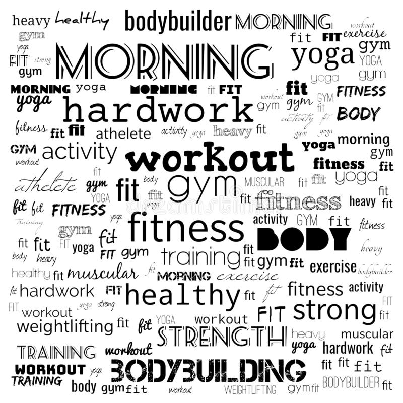 Fitness, sport, gym,lifestyle health concept,Word and Icon Cloud,T-shirt design,Creative poster design,Motivation,illustration,. Word cloud for gym concept in royalty free illustration