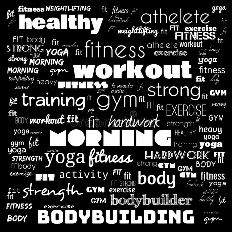 Fitness, sport, gym,lifestyle health concept,Word and Icon Cloud,T-shirt design,Creative poster design,Motivation,illustration,. Word cloud for gym concept in vector illustration