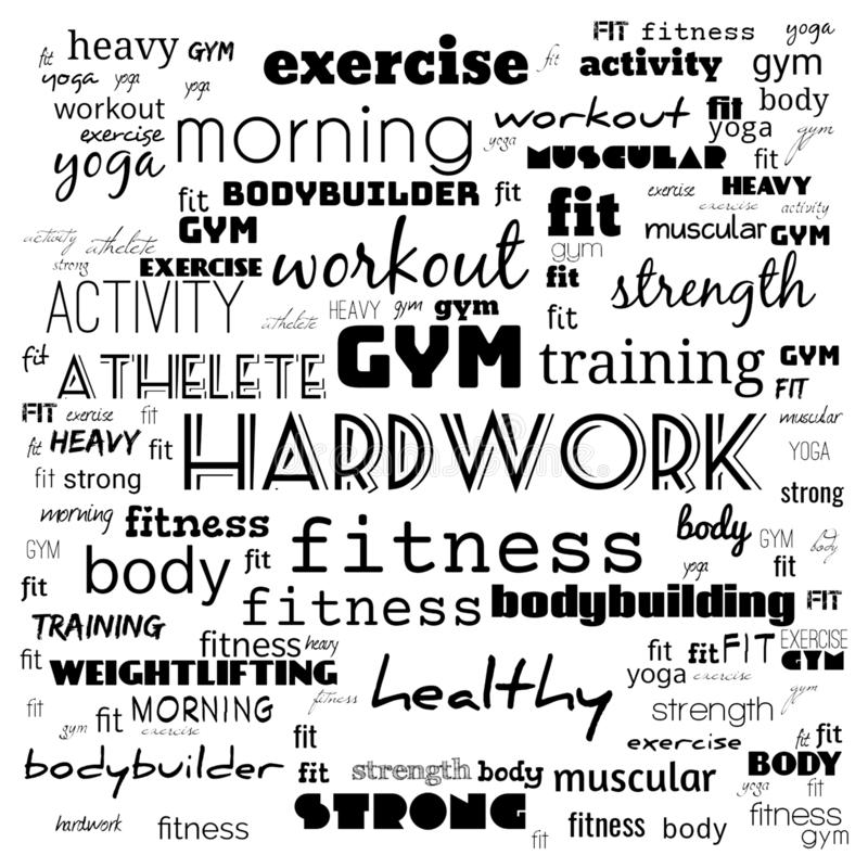 Fitness, sport, gym,lifestyle health concept,Word and Icon Cloud,T-shirt design,Creative poster design,Motivation,illustration,. Word cloud for gym concept in stock illustration