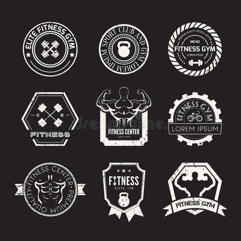 Fitness and Sport Gym Logos. Set of different sports and fitness logo templates. Gym logotypes. Athletic labels and badges made in vector. Bodybuilder, fit man stock illustration