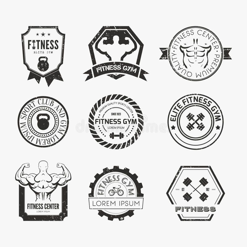 Fitness and Sport Gym Logos. Set of different sports and fitness logo templates. Gym logotypes. Athletic labels and badges made in vector. Bodybuilder, fit man royalty free illustration