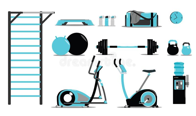 Fitness, sport and healthy lifestyle banner with copy space and training icons. Fitness, sport, diet and healthy lifestyle banner with copy space and training vector illustration