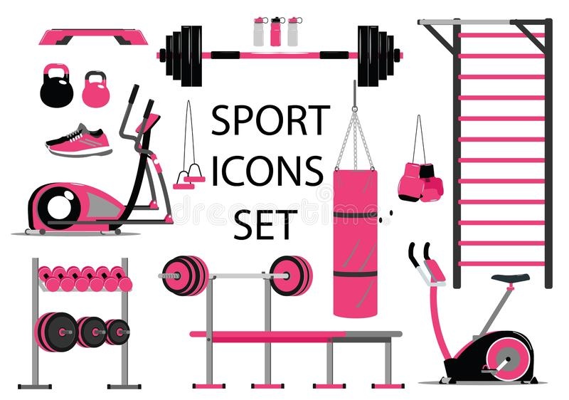 Fitness and sport icons set. Healthy lifestyle symbol. Flat style royalty free illustration