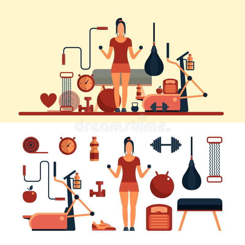 Fitness sport objects isolated on white background. Vector design elements and icons. Woman work out in a gym. Fitness center and gym equipment vector illustration