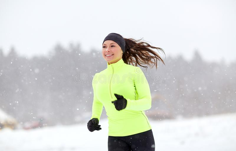Winter Running Woman In Snow Stock Photo - Image of nature, outdoor:  26939638