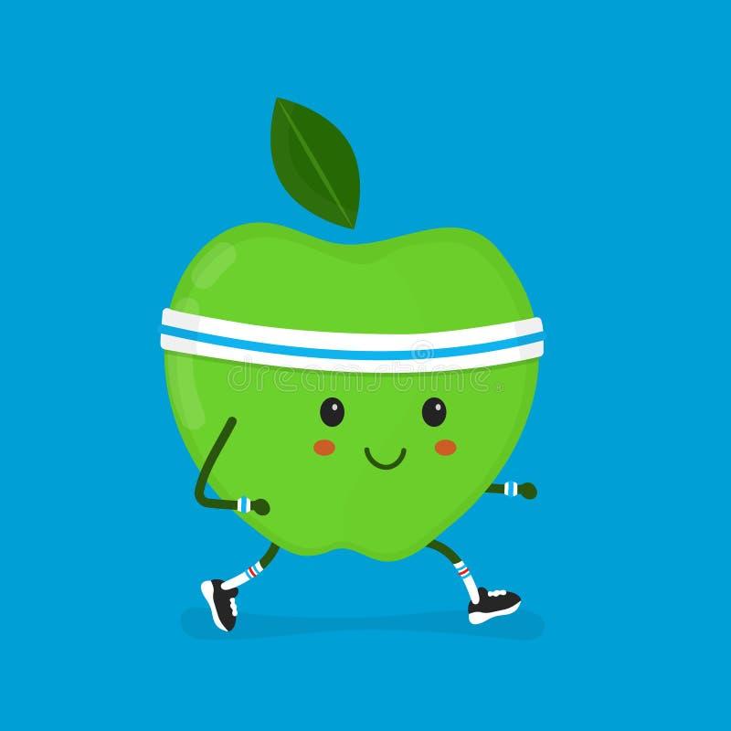 Fitness sport run apple Vector modern flat vector illustration