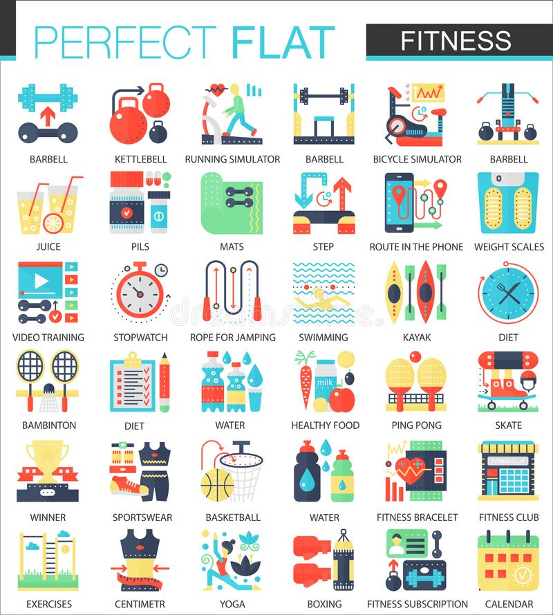 Fitness and Sport vector complex flat icon concept symbols for web infographic design. Fitness and Sport vector complex flat icon concept symbols for web stock illustration