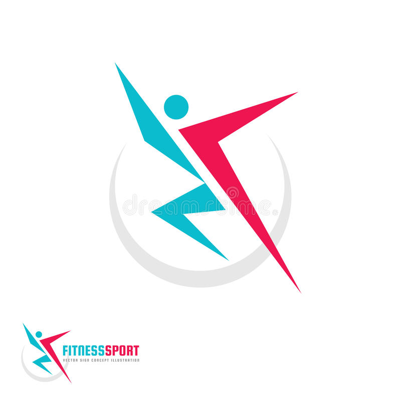 Fitness Sport - vector logo template concept illustration. Human character. Abstract running man figure. People sign. stock illustration