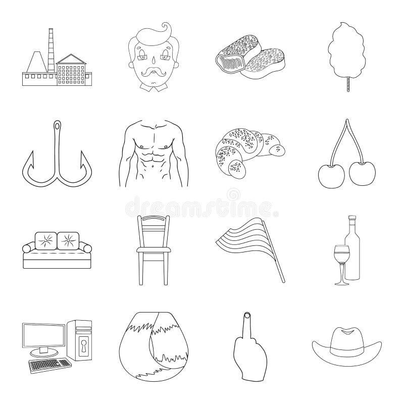 Fitness, sporten, alcohol en ander Webpictogram in overzichtsstijl visserij, het koken, technologiepictogrammen in vastgestelde i royalty-vrije illustratie