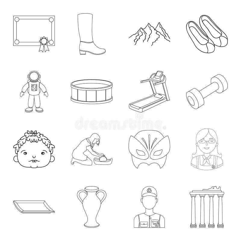 Fitness, sporten, onderwijs en ander Webpictogram in overzichtsstijl Kuuroordsalon, geschiedenispictogrammen in vastgestelde inza royalty-vrije illustratie