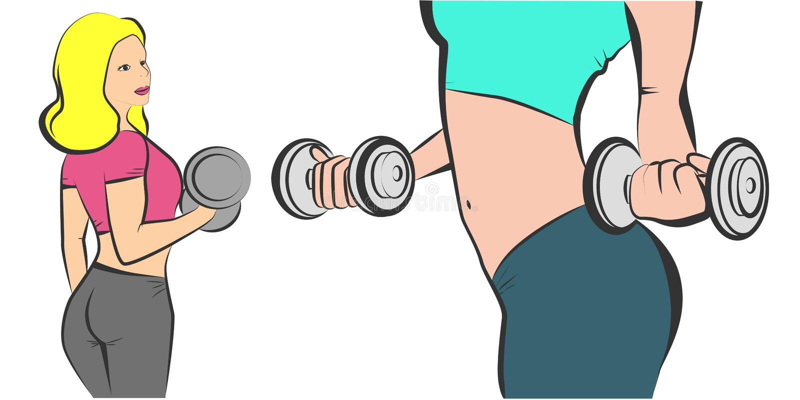 Fitness sportenachtergrond Reeks van jonge sexy vrouw met domoren De kitschtekening van de pop-art retro illustratie vector illustratie
