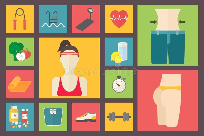Fitness, sportmateriaal, het geven cijfer, dieet, royalty-vrije illustratie