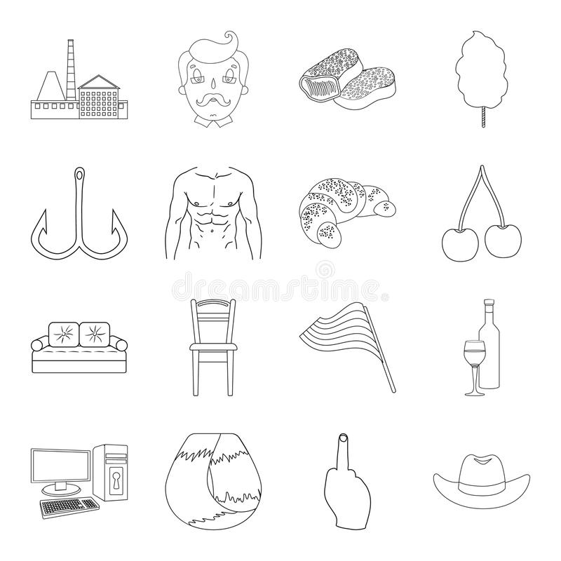 Fitness, sports, alcohol and other web icon in outline style.fishing, cooking, technology icons in set collection. Fitness, sports, alcohol and other icon in royalty free illustration