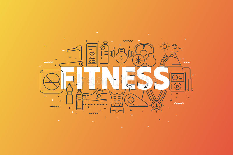 Fitness And Sports. Banner With Stroke Line Icon Cloud. Logo Pictograms. Premium Quality Simple Symbols Collection. Vector Illustration Design. Web Graphics vector illustration