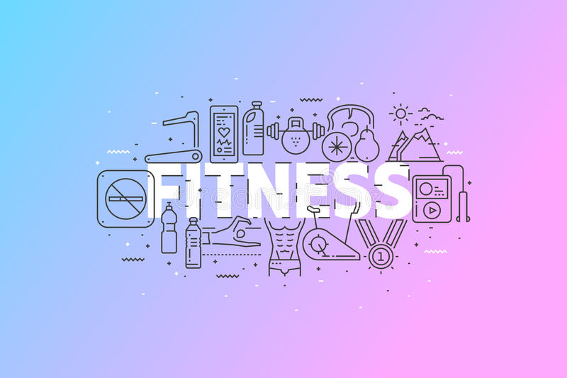 Fitness And Sports. Banner With Stroke Line Icon Cloud. Logo Pictograms. Premium Quality Simple Symbols Collection. Vector Illustration Design. Web Graphics royalty free illustration