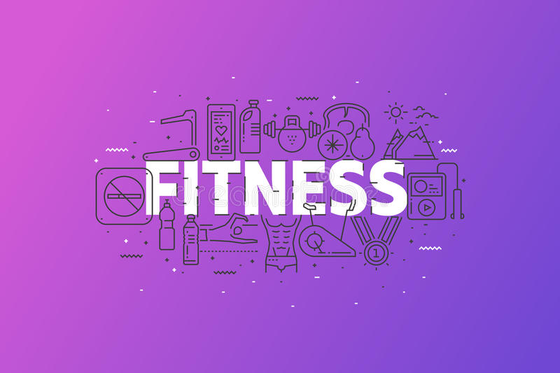 Fitness And Sports. Banner With Stroke Line Icon Cloud. stock images