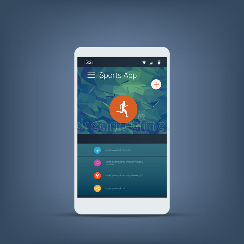 Fitness or sports tracker application graphic user interface in modern material design background with icons for menu. royalty free illustration