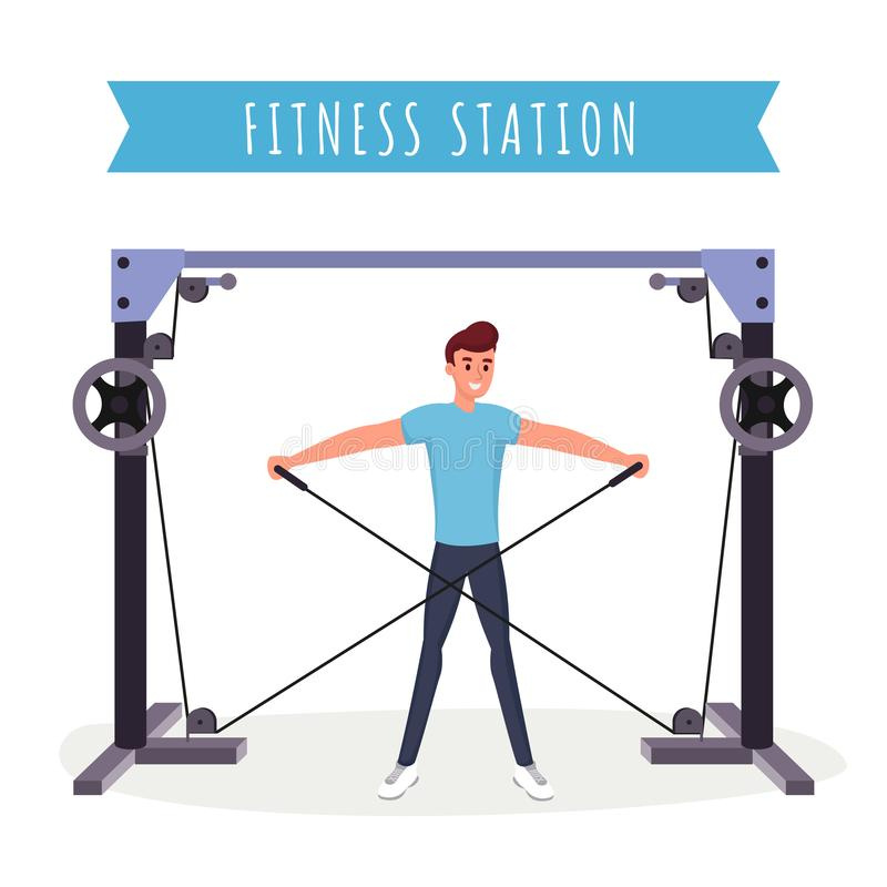 Fitness station workout flat vector illustration. Strong young man, bodybuilder working out with gym equipment cartoon. Character. Arm muscles training vector illustration