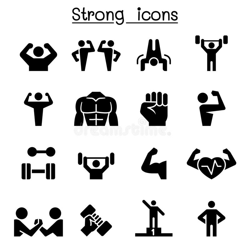 Fitness & Strong icon set. Fitness vector illustration