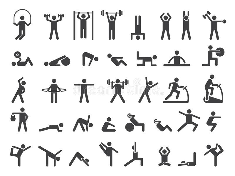 Fitness symbols. Sport exercise stylized people making exercises vector icon vector illustration