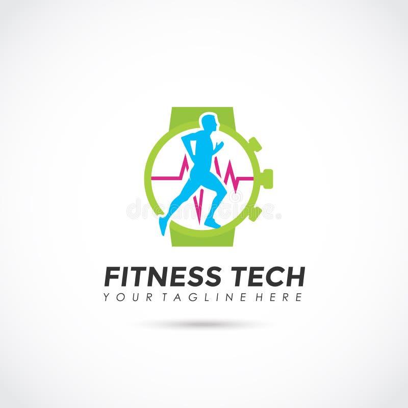 Fitness Tech Logo Design. Vector Illustrator Eps. 10 stock illustration
