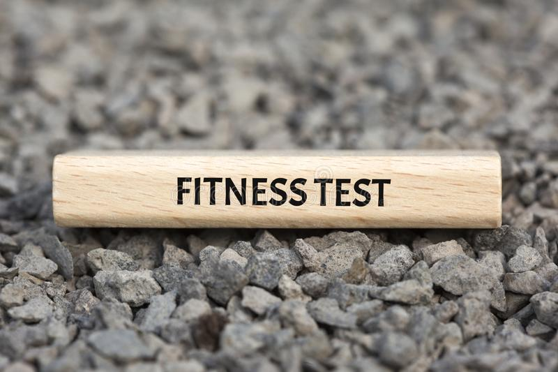 FITNESS TEST - image with words associated with the topic RECRUITING, word, image, illustration stock photo