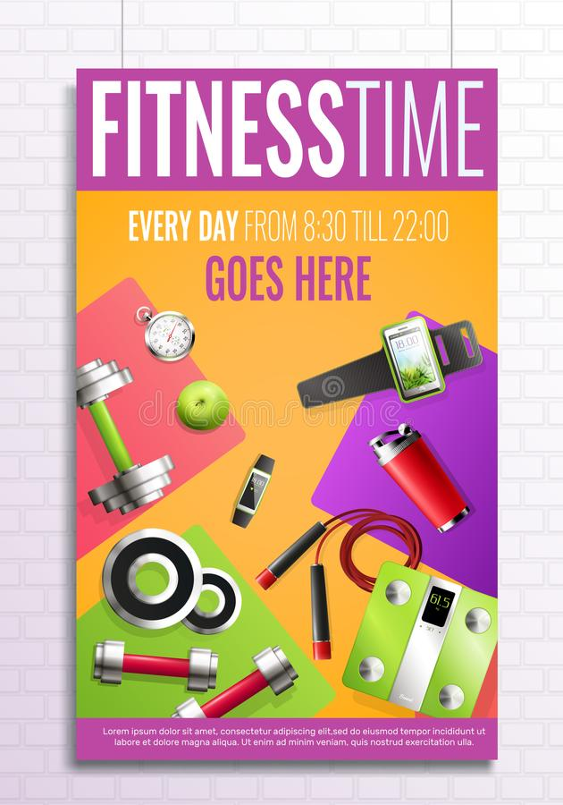 Fitness Time Poster stock illustration