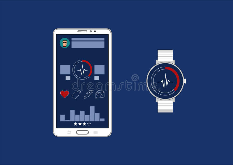 Fitness tracker app graphic user interface for smartwatch and smartphone. royalty free illustration