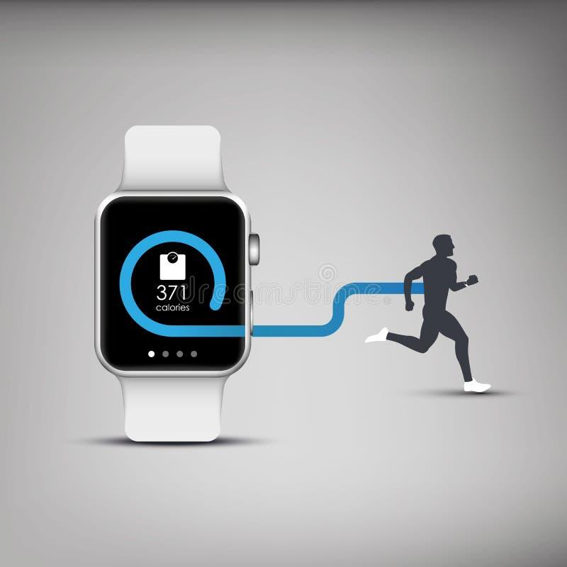 Fitness tracker application for smart watch stock illustration