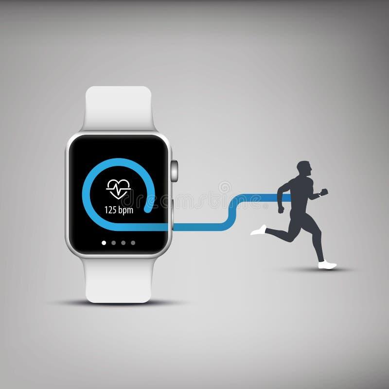 Fitness tracker application for smart watch vector illustration