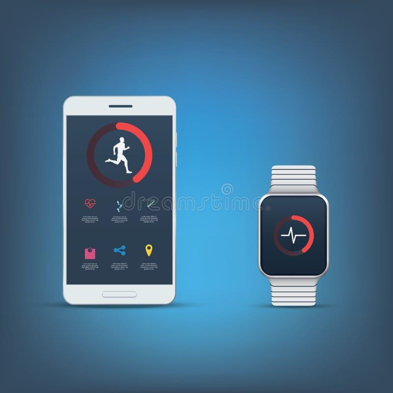 Fitness tracker application user interface kit stock illustration