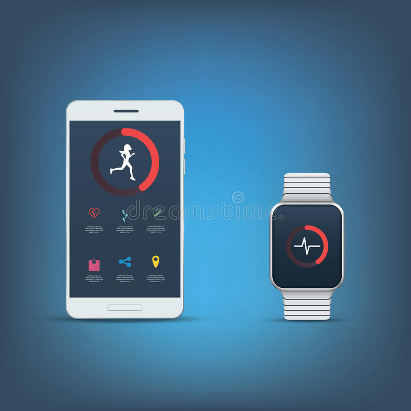 Fitness tracker application user interface kit. Set of icons for sport monitoring with smartphone or smartwatch. Girl woman runner symbol. Eps10 vector stock illustration