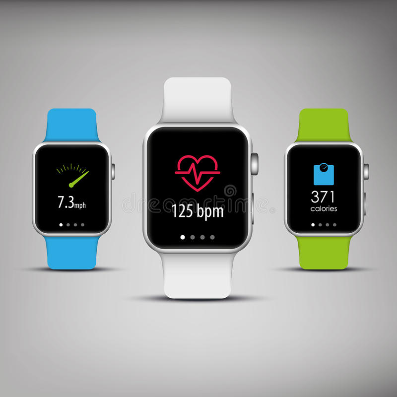 Fitness tracker in elegant design with colorful stock illustration