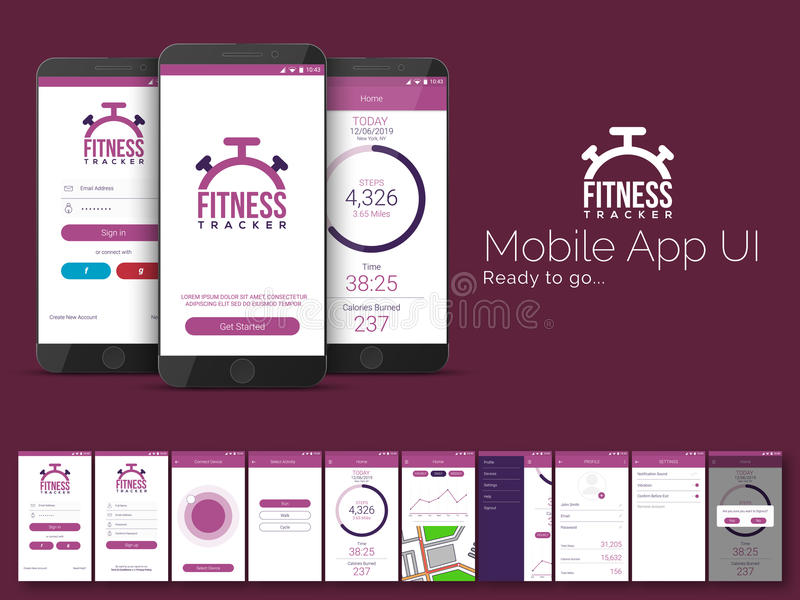 Fitness Tracker Mobile App UI, UX and GUI template. royalty free illustration